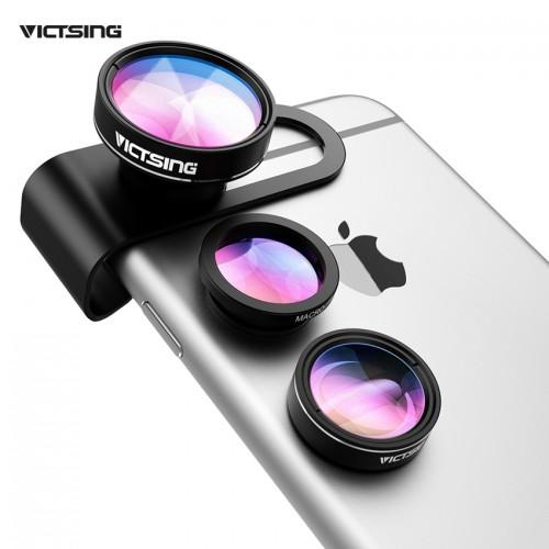 VICTSING 3 in 1 Phone Camera Lens Kit Aluminum Clip On 180 Degree Fisheye Lens