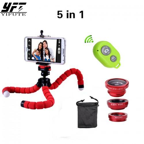 YIFUTE 5in1 Camera Lens Kit Fisheye Fish eye Lens Bluetooth shutter Tripod for iPhone 7 lens