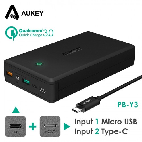 AUKEY 30000mAh Power Bank Portable Charger Quick Charge 3 0 Powerbank External Battery Pack