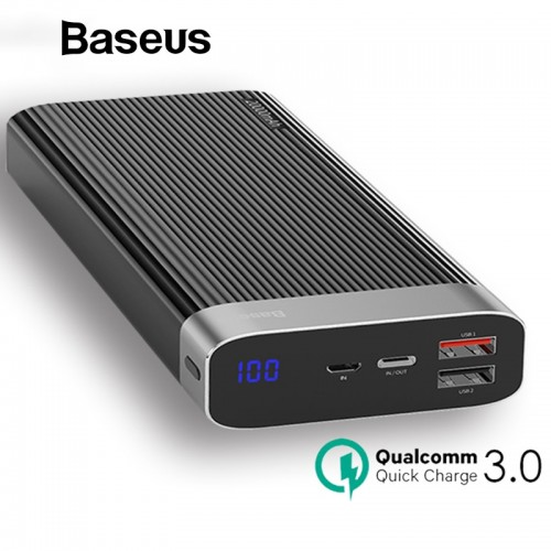 Baseus Power Bank 20000mAh USB Type C PD QC3 0 Quick Charger LED Display Battery