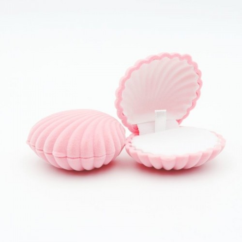 1 Piece Shell Shape Lovely Velvet Wedding Engagement Ring Box For Earrings Necklace Bracelet Jewelry Display.jfif