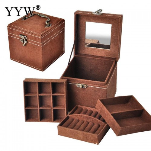 12x12x12cm Vintage Velvet Three Tier Jewelry Box Multideck Storage Cases with Wood Mirror High Quality Wedding