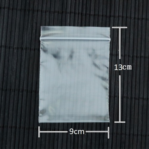 100 Pieces Transparent 13cm X 9cm Zip Lock Plastic Bags (Useable Space: 12cm X 9cm)