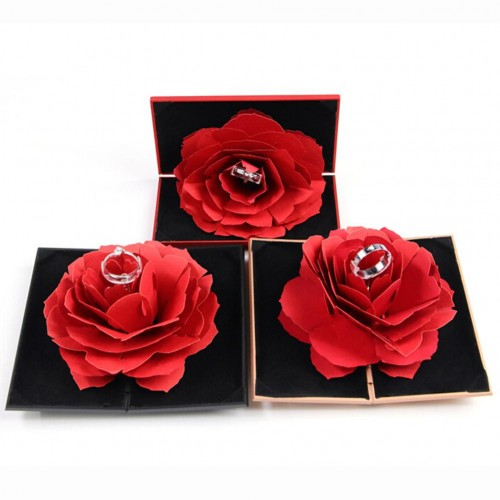 3D Pop Up Red Rose Flower Ring Box Wedding Engagement Box Jewelry Storage Holder Case