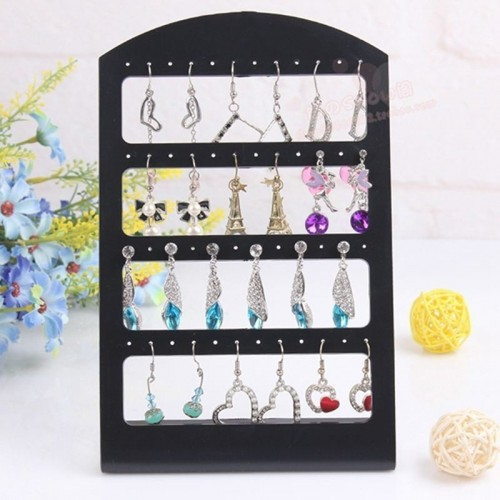 48 Holes Jewelry Organizer Stand Black Plastic Earring Holder Pesentoir Fashion Earrings Display Rack Etagere.jfif