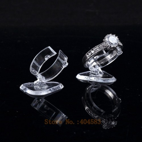 50 pcs Clear view elastic C circlePlastic Ring Display Stand Holder Rack Tabletop Decoration Stand