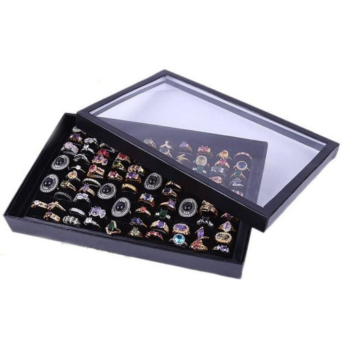Black 100 Slot Ear Ring Jewellery Display Storage Box Tray Show Case Organiser Earring Holder with