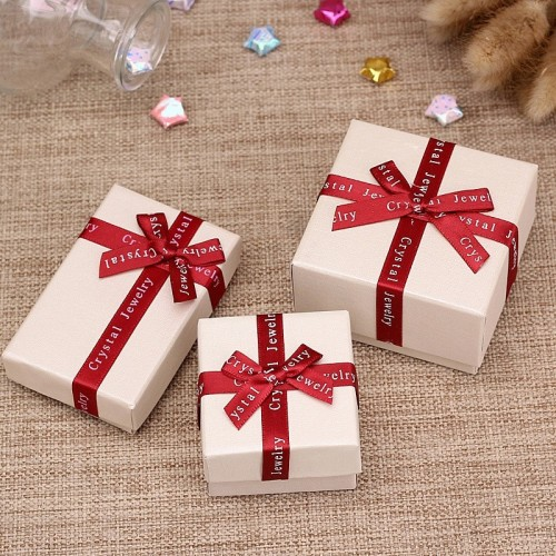 DoreenBeads Jewelry Boxes Paper Beige Color Red Ribbon Bowknot For Jewelry Packing Display Necklace Earring.jfif