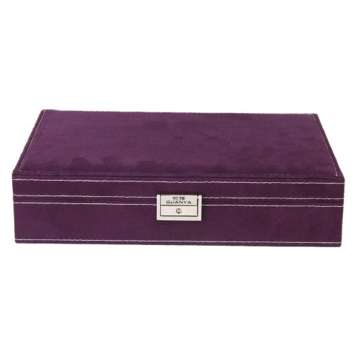Lockable Wooden Capacity Large Velvet Jewelry Earrings Storage Case Box Organizer Display Boxes and Packaging