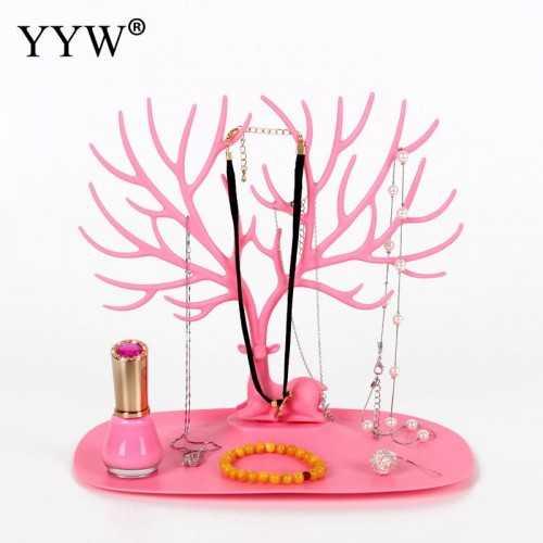 Multifunctional plastic Necklace Chain Bracelet Earring Holder Jewelry Display Pink White Tree Branch Stand Rack Hanger
