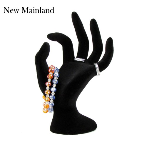 New Arrival Black Velvet Jewelry Ring Bracelet Necklace Hanging Hand Display Holder Stand Show Rack Resin
