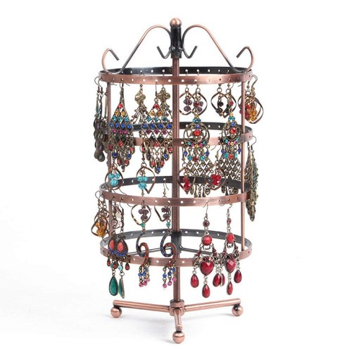 SZanbana Bronze 4 Tiers Metal 144 Holes Round Rotating Spin Table 72 Pairs Earring Holder Jewelry