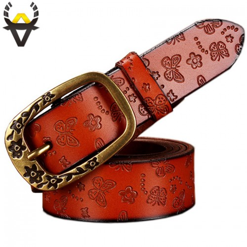 Butterfly Genuine Leather Belts Women Fashion Strap Female Vintage PIN Buckle Second Layer Cow skin Floral