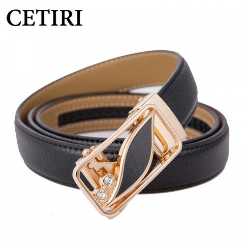 CETIRI 24 Style Fashion Leaf Automatic Buckle Belt Women High Quality Leather Belts Female Strap Waist