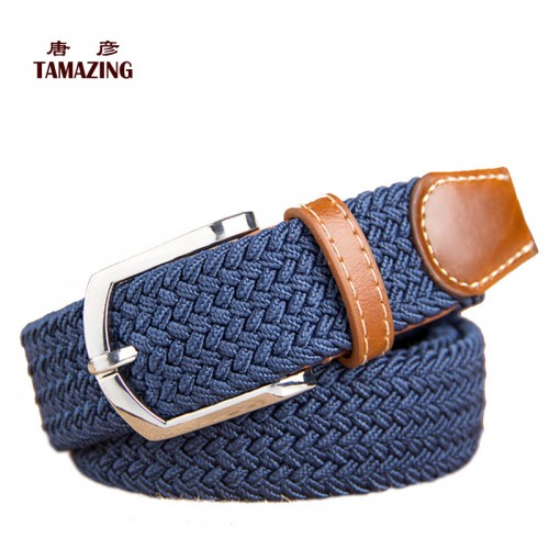 Knitted canvas belt decoration belt female pin buckle canvas strap women s elastic belt 105CM