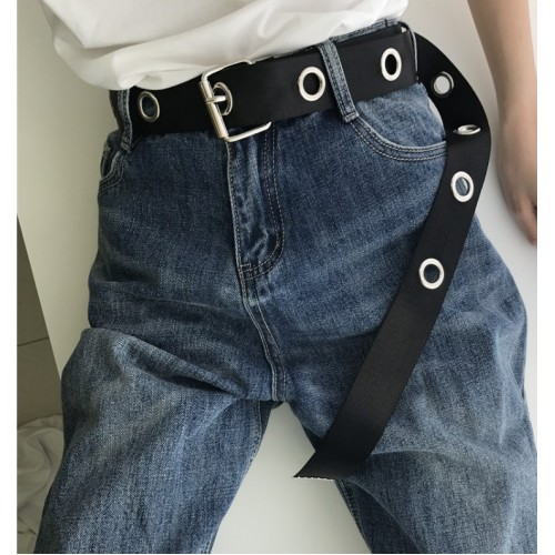 Long Personality Design HOT casual ring black metal belt female students jean canvas waist belts tide