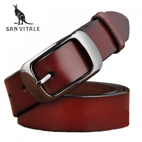 SAN VITALE New Designer Fashion Women s Belts Genuine Leather Brand Straps Female Waistband Pin Buckles