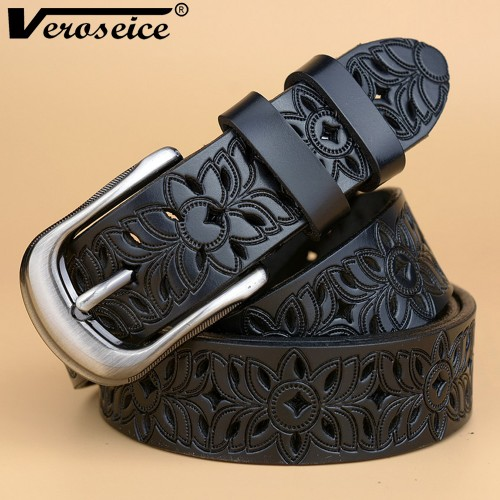 Veroseice New Genuine Leather women belt famale cowhide strap leather waistband belts for women luxury