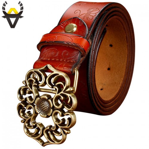 Vintage Belt Woman Genuine Leather Second Laye Cow skin strap Fashion Floral Buckle Belts For Women