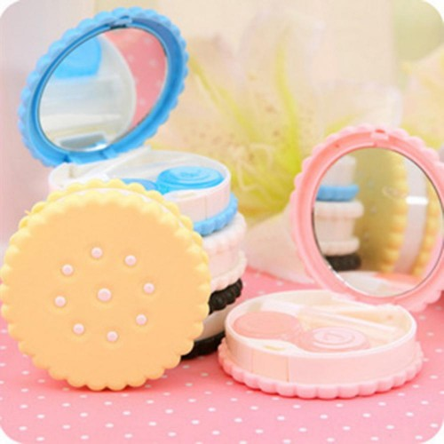 Cartoon Cookies Shape Contact Lenses box case for lenses Eyewear Accessories Contact lens bag Eyewear Cases