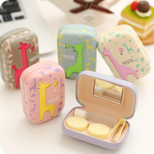 Cute Cartoon Contact Lens Case Holder Hard PU Contact Lens Case Set With Mirror Travel Lenses