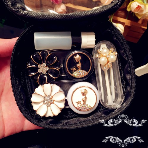 Fashion Cute Contact Lens Case Travel Kit For Women Flower And Beauty Handmade Contact Lens Box