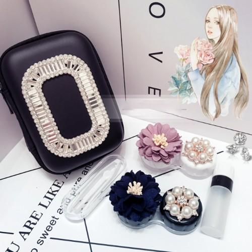 Handmade Cosmetic Contact Lens Case With Mirror Contact Lens Case Cute Lovely Travel Kit Lenses Box
