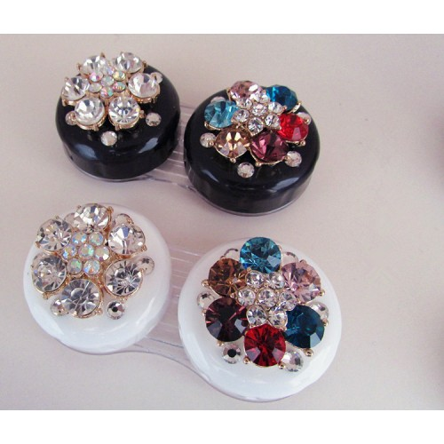 LIUSVENTINA DIY alloy diamond flower double US pupil storage box contact lens case for eyes contact