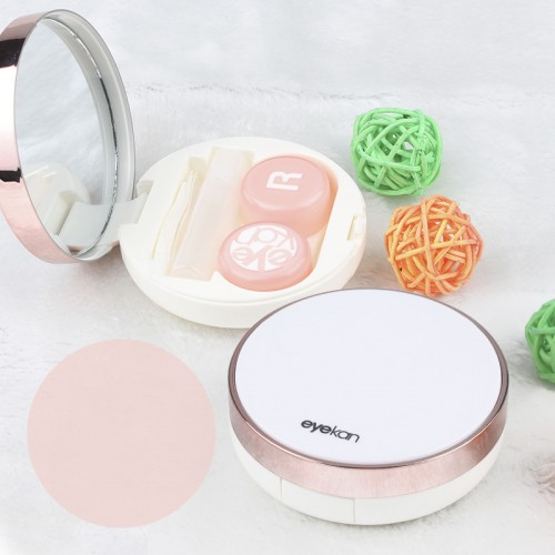 Round Reflective Cover Contact Lens Case Travel Kit Lenses Box With Mirror Stick Tweezers Contact Lens