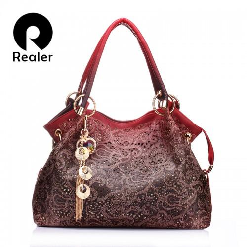 REALER brand women bag hollow out ombre handbag floral print shoulder bags ladies