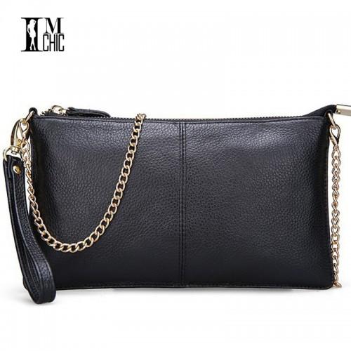 Soft Genuine Leather Women Clutch Bags Chain Shoulder Bag Purse Organizer Evening Party Handbags