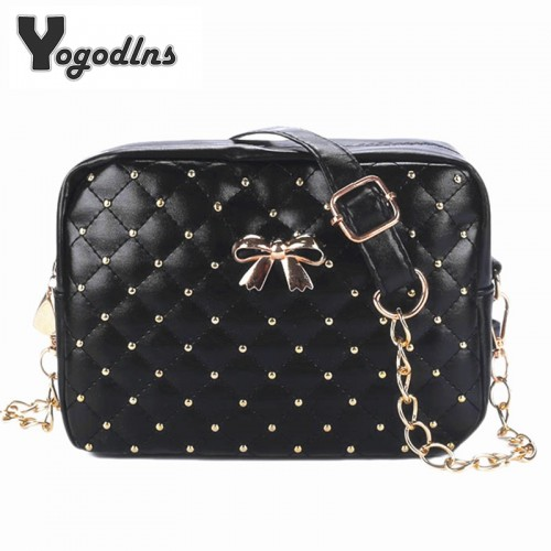 Summer Fashion Women Messenger Bags Rivet Chain Shoulder Bag PU Leather Crossbody Quiled Crown bags