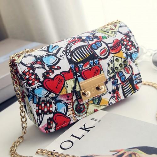 Women Bags Summer Graffiti Ladies designer handbags high quality chain mini bag women