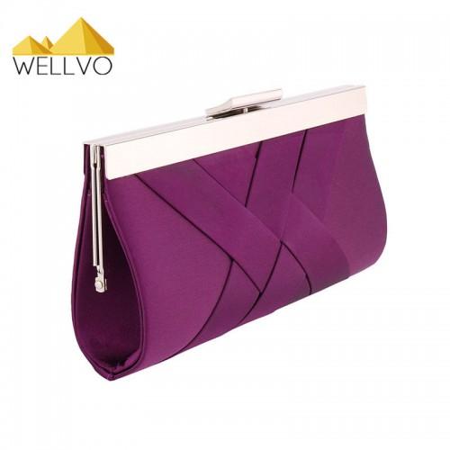 Women Day Clutch Ladies Purse Chain Handbags Women Purple Bride Wedding Party Hand Bags