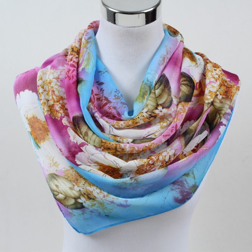 New Women Chiffon Silk Scarfs Fashion Spring Square polyester Scarves Print flowers Shawl Summer Shawls