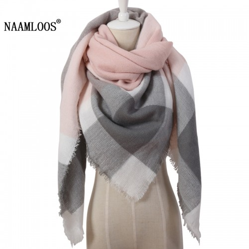 Winter Triangle Scarf For Women Brand Designer Shawl Cashmere Plaid Scarves Blanket Wholesale Dropshipping