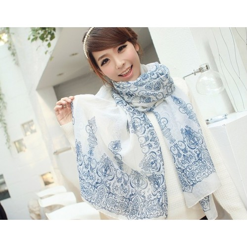 spring autumn winter latest fashion models women scarf necessary classic chiffon blue floral design scarves