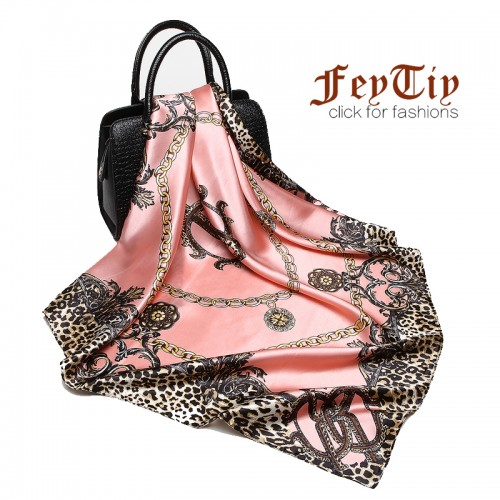 Fashion Women Scarf Luxury Brand Pink Leopard Hijab Silk Satin Shawl Scarfs Foulard Square Head Scarves