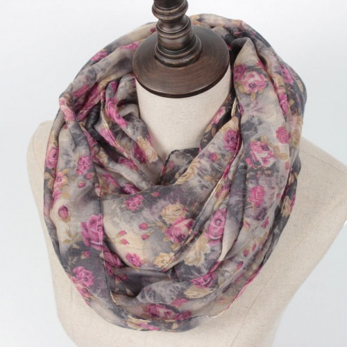 Guttavalli Hot SellinWarm Women Flower Loop Scarf Female Small Rose Print Chevron Ring Scarves Winter Plants