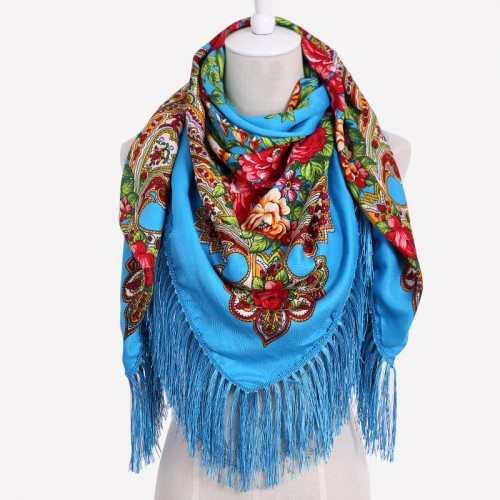 HOT Sale Russian Brand New Fashion Big Size Square Scarf Cotton Long Tassel Print Scarf in