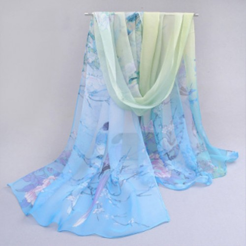 LNRRABC Fashion New Thin Women Long Soft Wrap Lady Shawl Silk Chiffon Scarf Magpie Printed Scarves