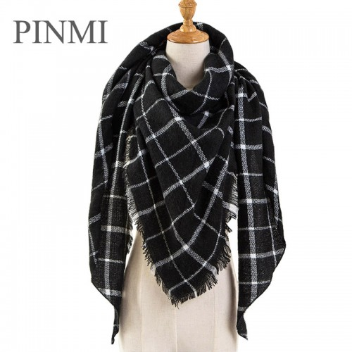 PINMI Black Plaid Winter Scarf Women Luxury Brand Warm Cashmere Scarves and Shawls Large Triangle