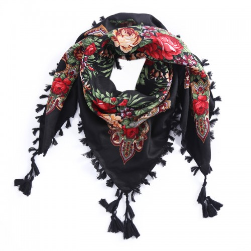 Russia new hot sell Wquare Fashion decorative Scarf handmade tassel flower design Scarves Blanket Shawl Handkerchief