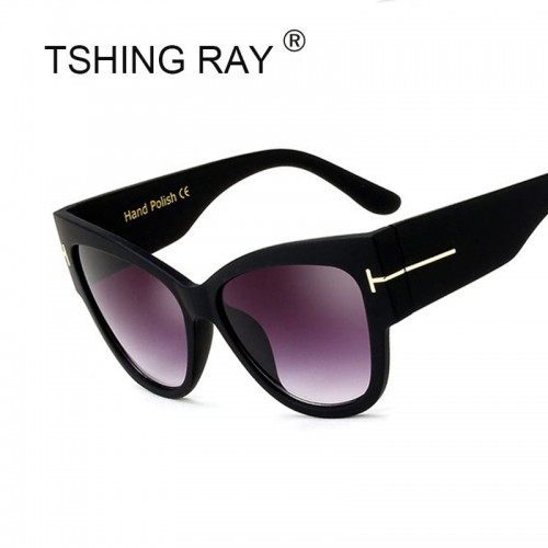 TSHING RAY Tom Fashion Brand Designer Cat Eye Women Sunglasses Female Gradient Points Sun Glasses Big