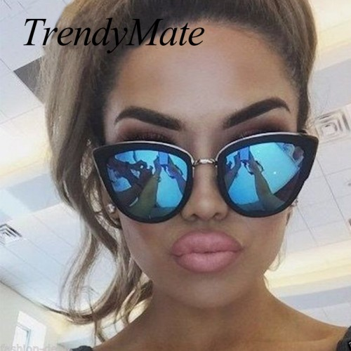 TrendyMate Retro Cat Eye Women Sunglasses Female Metal Frame Sunglasses Brand Designer Alloy Legs Glasses