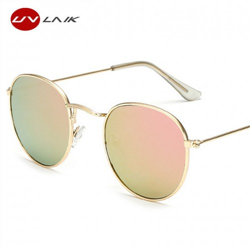 UVLAIK Women Metal Frames Round Sunglasses Bright Reflective Coating Lenses Sun Glasses for Women Brand Retro