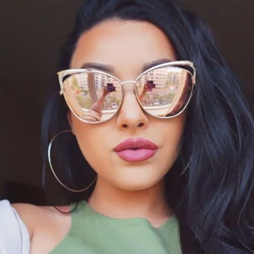 Victorylip 2017 moda cat eye ouro rosa espelho culos de sol culos de arma o de