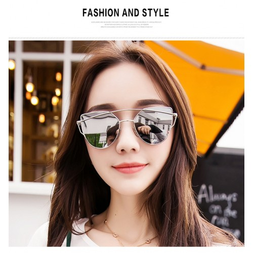 Womens Sunglasses Trendy Cat Eye Fashion Sunglasses Brand Woman Vintage Rose Gold Pink Sun Glasses
