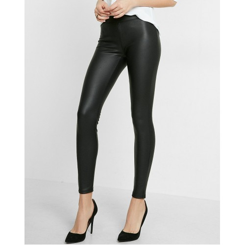 Faux Leather Waist Skinny Leggings Pencil Pant Black