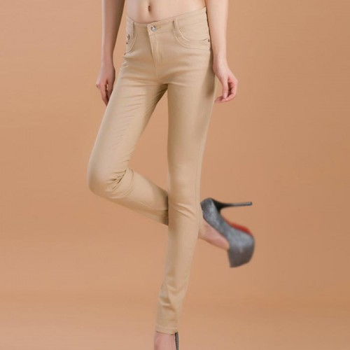 Beige Female Stretchable Cotton Jeans Pencil Pants Denim Trousers